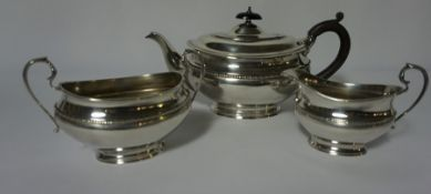Hamilton & Inches of Edinburgh, Silver Three Piece Tea Service, Comprising of Tea Pot, Sugar and
