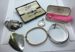 Mixed Lot of Jewellery, To include a Stick Pin, Two Brooches, Bangles, Silver Brooch by Steiff,