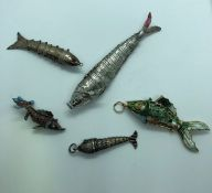 Five White Metal and Enamel Pendants, Modelled as Articulated Fish, 3.5cm, 6cm, 9cm long, (5)