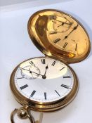 18ct Gold Full Hunter Pocket Watch, The Key wind Watch Having a White Enamel Dial and Subsidiary