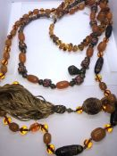Three Strings of Amber Coloured Beads, 20cm, 31cm, 50cm long, (3)