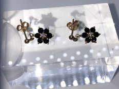 Pair of 9ct Gold Gemstone and Diamond Flower Earrings, Set with a small Diamond to the centre,