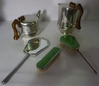 Box of Silver Plated Wares, To include two Piquot Ware Pots, Three Piece Brush Set, Cased Cutlery