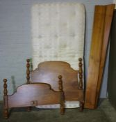 Hardwood Single Bed, With Side Rails, Slats and Mattress