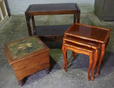 Victorian Commode Stool, With Ceramic Insert, 41cm high, 47cm wide, Also with a Trolley and a Nest