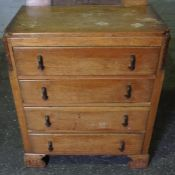 Vintage Oak Four Drawer Chest of Drawers, 97cm high, 77cm wide, 48cm deep