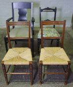 Pair of Parlour Chairs with Woven Seats, 87cm high, Also with an Ebonised Carver Chair, And an