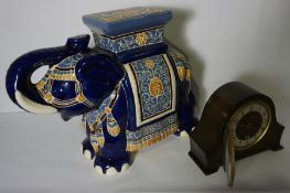 Pottery Elephant Figure, 43cm high, 60cm wide, Also with a Bentina Mantel Clock, (2)