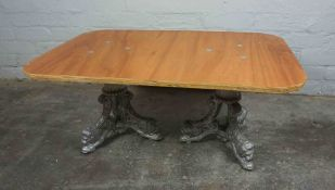 Coffee Table, Raised on Painted Cast Iron Supports, 37cm high, 82cm wide
