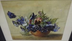 """J Marshall """"Still Life of Flowers in Vases"""" Watercolour, Dated 1909, 33cm x 40cm"""