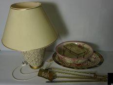 Lot of Sundries, To include Brass Fireirons, Derby Platter 19th century, Brass Trivot etc