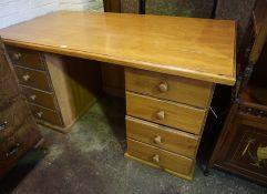 Pine Kneehole Desk, 75cm high, 151cm wide, 81cm deep