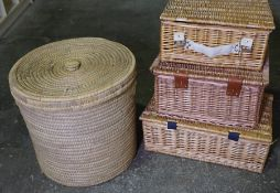 Wicker Laundry Basket, Also with three Wicker Picnic Baskets, (4)