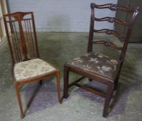 Mahogany Ladder Back Dining Chair, 99cm high, Aso with an Edwardian Parlour Chair, (2)
