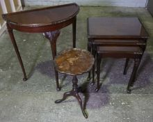 Mahogany Nest of Three Tables, Also with a Wine Table and a Demi Lune Hall Table, (3)