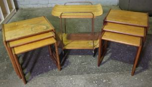 Two Retro G-Plan Teak Nests of Three Tables, Also with a similar Trolley, (7)