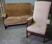 Vintage Two Seater Sofa, With a Similar Armchair, Sofa 81cm high, 147cm wide, (2)