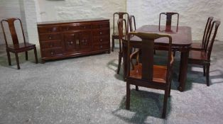 Chinese Style Hardwood Dining Room Suite, Comprising of a Dining Table with one Additional Leave,