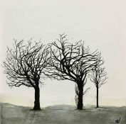 Sandra Vick (British, B.1968), Trees Study VI, acrylic on canvas, initials lower right, framed