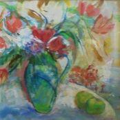 Elizabeth Cameron (Scottish, B.1947), Jug of Tulips, acrylic, signed lower right, artist label to