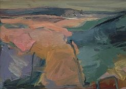 Lida Hatrick M.A.(Hons) M.Sc.(British, B.1948), Lammermuir Landscape, oil on board, initials to