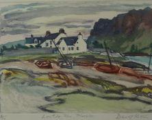 "David Koster (British B 1926) ""Lowtide Rhu, Plockton"" Signed Limited Edition MIxed Media, No 4 of"