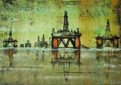 Georgina Bown SSA (British, B.1965), Oil Rig 5, one off mono print, unsigned, artist label to verso,
