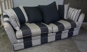Modern Brunswck Fabric Sofa, Decorated in Silver and Black Stripes, With Cushions, 77cm high,