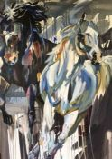 Ian Whyte (Scottish, B.1957), Wild Horses 2, oil on canvas, initials lower left, name and title to
