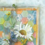 Janet Cleghorn BA(Hons) (Scottish, B.1973), Daisies and Patchwork, mixed media on paper, signed