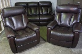 Lazy Boy Brown Leather Three Piece Reclining Lounge Suite, Comprising of a three seater Recliner
