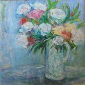 Elizabeth Cameron (Scottish, B.1947), Jug of Roses, acrylic on canvas, signed lower right, framed