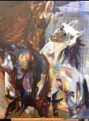 Ian Whyte (Scottish, B.1957), Wild Horses 1, oil on canvas, initials lower right, titled and named