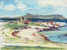 Selina Wilson (British, B.1986), Traigh beach, looking towards Eigg, oil on canvas, signed to