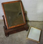 Victorian Mahogany Dressing Glass, 63cm high, Also with a Barbola Mirror, (2)