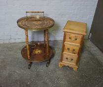 Italian Style Tea Trolley, 69cm high, 52cm wide, Also with a Pine Bedside style Cabinet, (2)