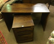 Hardwood Desk, 75cm high, 125cm wide, 60cm deep, Also with a Hardwood Bedside style Chest, (2)