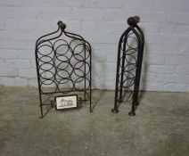 Two Metal Wine Racks, 64cm high, (2)
