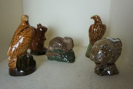 Five Beswick Beneagles Scotch Whisky Figures with Contents, To include a Haggis, and Squirrel, (5)