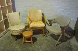 Three Assorted Chairs, 80cm high, Also with a Stool, (4)