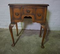Georgian Style Walnut Lowboy, 77cm high, 62cm wide, 41cm deep