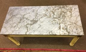 French Style Painted Marble Top Coffee Table, 44cm high, 88cm wide