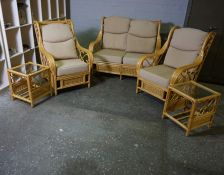Bamboo Three Piece Conservatory Suite, Sofa 99cm high, 127cm wide, Also with a pair of similar