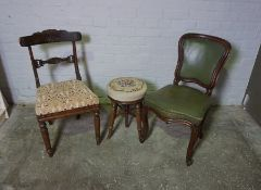 Two Victorian Dining Chairs, Also with a Tapestry top Piano Stool, (3)