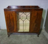 Mahogany Display Cabinet, 130cm high, 138cm wide, 33cm deep