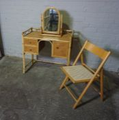 Bamboo Dressing Table, 82cm high, 82cm wide, 42cm deep, With a similar Dressing Mirror and Folding