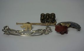 Small Mixed Lot of Jewellery and Collectables, To include an Ivory Elephant Pendant, Marcasite