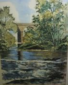 """Tom Higgins (Scottish) """"River Carron at the Viaduct Larbert, A Warm May Afternoon"""" Watercolour,"""