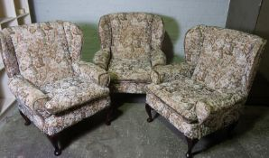Three Matching Tapestry Wing Armchairs, 93cm high, (3)