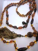 Three Strings of Amber Coloured Beads, 20cm, 31cm, 50cm long, (3)